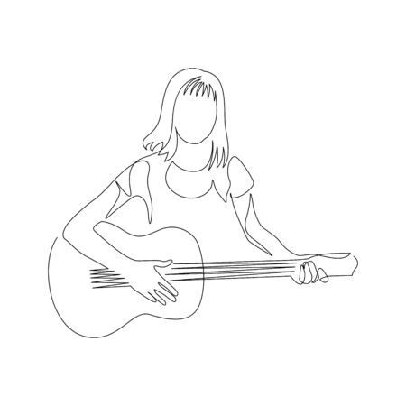 Continuous one line woman with a guitar. Vector stock illustration. 写真素材