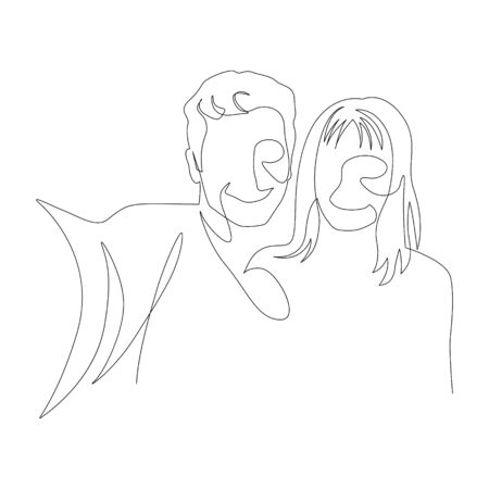 Continuous one line selfie of a couple in love. Vector stock illustration.