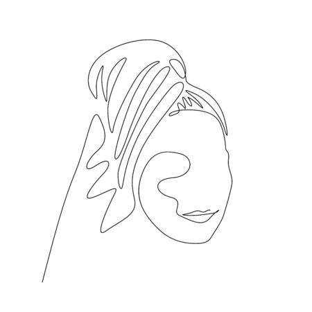 Continuous one line woman with a towel on her head after a shower. Vector stock illustration.