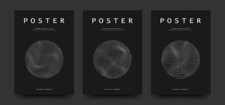 Minimalist black and white colors cover set. Circle shape with abstract wavy lines pattern. Vector design for a template of poster, flyer, card, brochure. Eps 10 写真素材