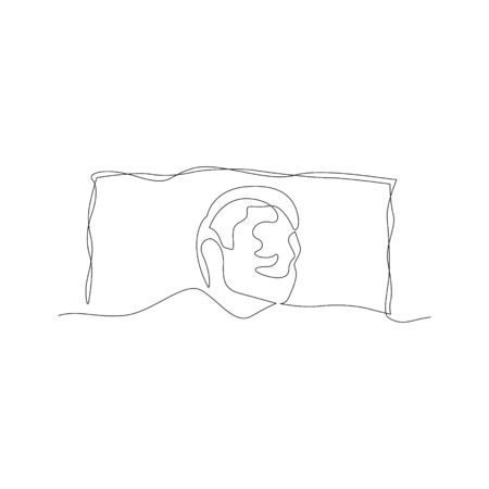 Continuous one line man sleeping under the blanket on the pillow. Vector stock illustration.