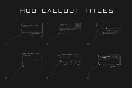 Set of callout titles in HUD style. Futuristic sci-fi design elements. Editable stroke. Good for animation. Vector illustration  イラスト・ベクター素材