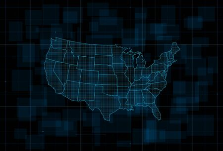 HUD map of the USA. Futuristic digital dark blue background. Vector illustration.