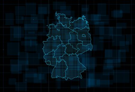 HUD map of the Germany with states on dark blue