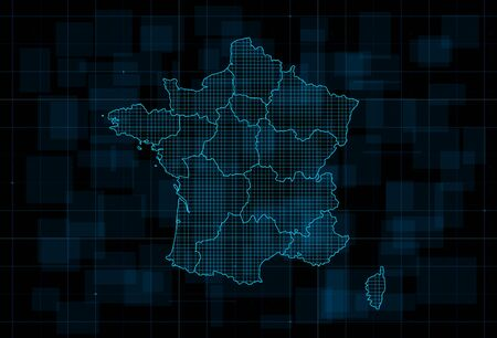 HUD map of the France with regions on dark blue