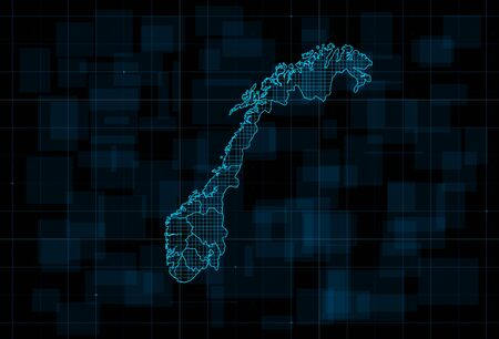 HUD map of the Norway with counties. Cyberpunk Futuristic digital dark blue background. Editable stroke. Vector illustration.