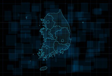 HUD map of the South Korea with provinces. Cyberpunk Futuristic digital dark blue background. Editable stroke. Vector illustration.