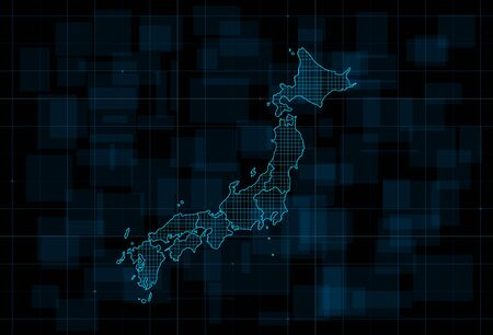 HUD map of the Japan with prefectures. Cyberpunk Futuristic digital dark blue background. Editable stroke. Vector illustration.