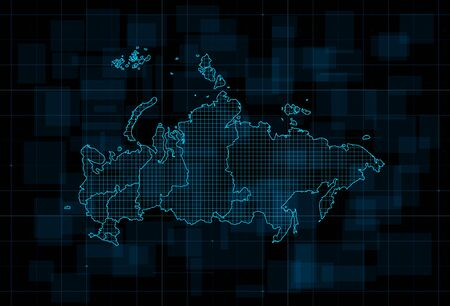 HUD map of the Russian Federation with Federal subjects. Cyberpunk Futuristic digital dark blue background. Editable stroke. Vector illustration.