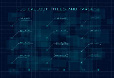 Set of blue callout titles and targets in HUD style on dark blue digital hi tech background. Editable stroke. Good for animation. Vector illustration