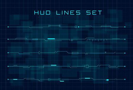 Set of blue HUD futuristic header and footer elements on dark blue