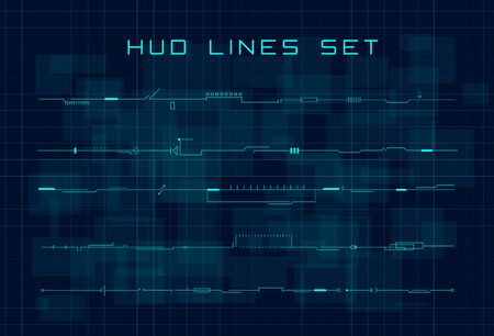 Set of HUD futuristic header, footer and line elements on dark blue