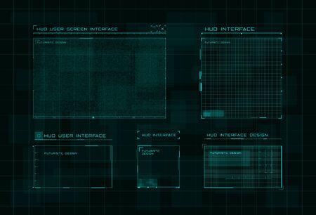 Set of HUD user screen interface on dark green digital hi tech background. Futuristic layout of control panel and user menu in HUD style. Editable stroke. Good for animation. Vector illustration