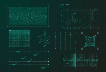 Set of HUD infographic elements. Sci-fi charts and diagrams for futuristic user interface HUD, UI, GUI. Big data analytics theme. Virtual green graphics. Editable stroke. Vector illustration.