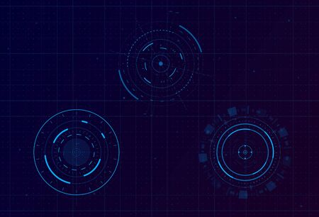 Set of HUD circle infographic elements. Sci-fi round head-up display for futuristic user interface HUD, UI, GUI. Tech and science theme. Editable stroke. Good for animation. Vector illustration.  イラスト・ベクター素材