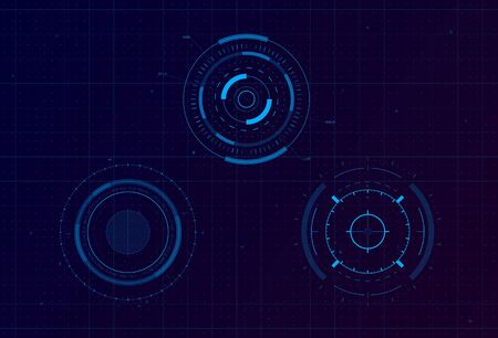 Set of HUD circle targets. Sci-fi round head-up display for futuristic user interface HUD, UI, GUI. Tech and science theme. Editable stroke. Good for animation. Vector illustration.  イラスト・ベクター素材