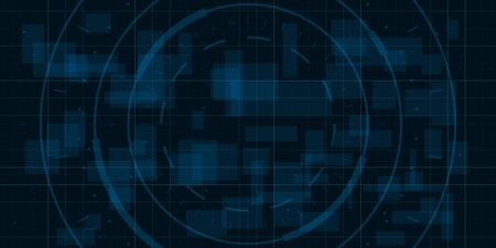 HUD dark blue background with thin grid, dots and circle element. Design for science theme, artifical intelligence, neural network and hi-tech. Vector illustration.