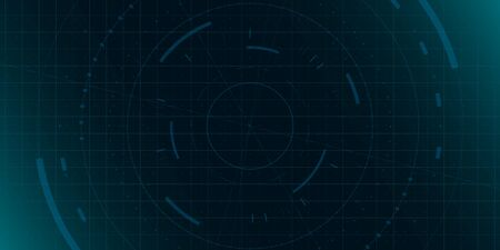 HUD dark blue background with grid, dots and circle element. Design for science theme, artifical intelligence, neural network and hi-tech. Vector illustration. 矢量图像