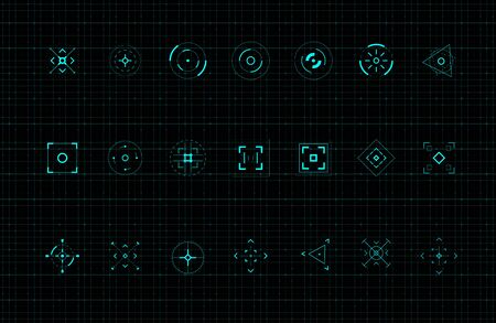 HUD callout target design elements. Set of callout futuristic pointer. Design elements for FUI, control panel and user men. Editable stroke. Good for animation. Vector illustration.