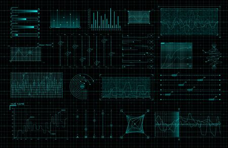 Set of HUD infographic elements. Sci-fi charts and diagrams for futuristic user interface and GUI. Big data analytics theme. FUI virtual graphics. Editable stroke. Vector illustration. 矢量图像