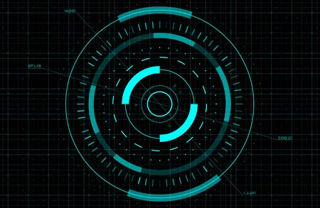 HUD, GUI, FUI circle target. Sci-fi round head-up display for futuristic user interface. Tech and science theme. Editable stroke. Good for animation. Vector illustration.  イラスト・ベクター素材