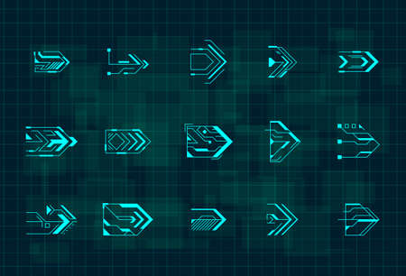 Set of futuristic HUD blue arrows. Cyberpunk arrows design for flyer, banner, cover, card, web and for game UI design. Digital hi-tech style pointers. Vector illustration.
