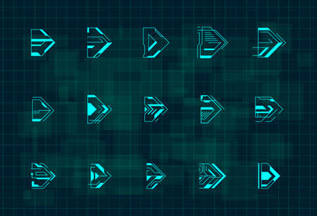 Set of futuristic HUD blue arrows. Cyberpunk arrows design for flyer, banner, cover, card, web and for game UI design. Head-up Display style pointers. Vector illustration.