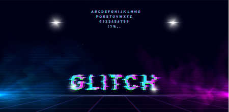 Retrowave glitch font on futuristic perspective laser grid with blue and pink glow and fog on starry space background. Has two highlights for enhancing the effect. Vector illustration