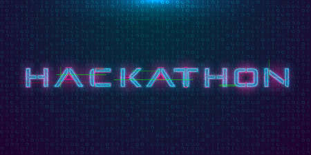 Hackathon HUD hologram cyberpunk style banner. Neon tech Hackathon glitch inscription on dark background. Design element for event advertising, shares, promotion. Vector illustration