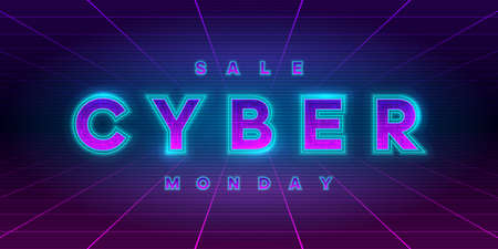 Cyber Monday sale retrowave style banner. Neon tech cyber Monday inscription on laser perspective grid background. Design element for event advertising, shares, promotion. Vector illustration.