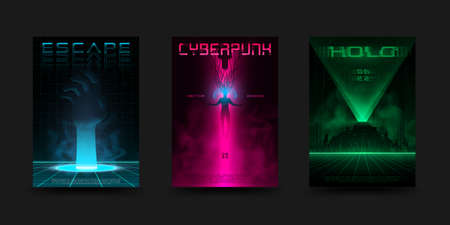 Cyberpunk poster set. Futuristic retrowave vivid layouts for electronic music events. Virtual reality concept. Design for flyer, cover. Vector. 矢量图像