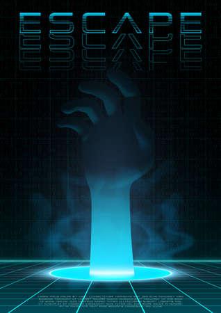 Retrofuturistic poster with hand passing through the portal. Retro wave sci-fi template for electronic music events. Design for flyer, cover, web. Vector. Ilustração Vetorial