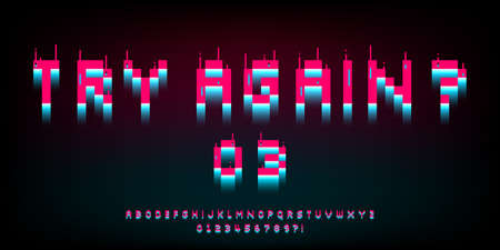 Pixel glitch font. 8 bit distortion letters, numbers and symbols. Retro bright pink and blue game type. Design for typography for games, banner, web. Vector. 矢量图像