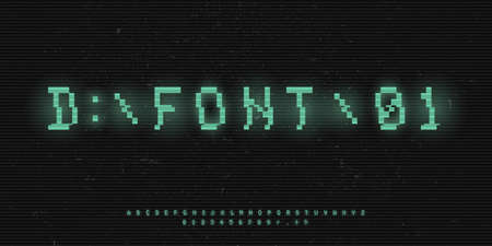 Pixel 8 bit glitch font. Green VHS letters, numbers and symbols. Retro tech distortion typography. Design for typography for games, banner, web. Vector.