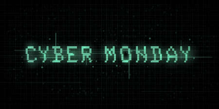 Cyber monday banner. Glitch effect, VHS, retro cyber style, pixel 8 bit typography on dark background with binary code. Design for banner, cover, web. Vector illustration.