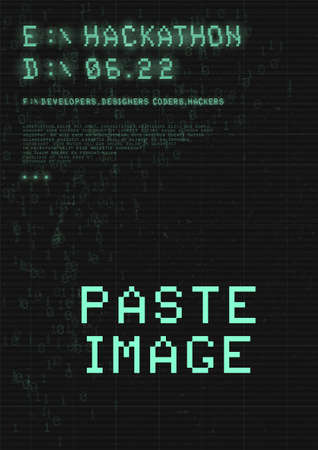 Hackathon poster. Retrowave cyberpunk style futuristic poster with 8-bit pixel glitch typography, binary code and copy space.