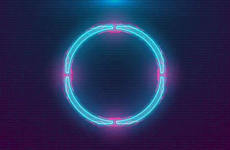 Futuristic illuminated cyberpunk hologram circle. Modern circle with blue hud neon effect and pink printed circuit board on digital background. Glow Design for Banner, Web. Cyber vector illustration.