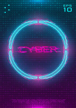 Futuristic poster with illuminated cyberpunk hologram circle. Modern template with blue hud neon circle with pink printed circuit board. Glow Design for poster, flyer, cover. Cyber vector illustration