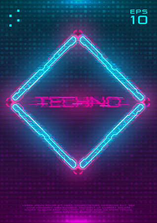 Futuristic poster with illuminated cyberpunk hologram Rhombus. Modern template with blue hud neon Rhombus with pink printed circuit board. Glow Design for poster, flyer, cover. Cyber vector illustration 免版税图像