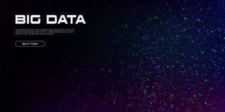 Big data visualization. A cluster of multi-colored particles. Abstract science technology background with copy space. Vector illustration.