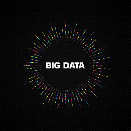 Big data circular visualization with copy space on black background with grid and dots. Design for business, science, technology. Vector illustration. Standard-Bild - 155187508