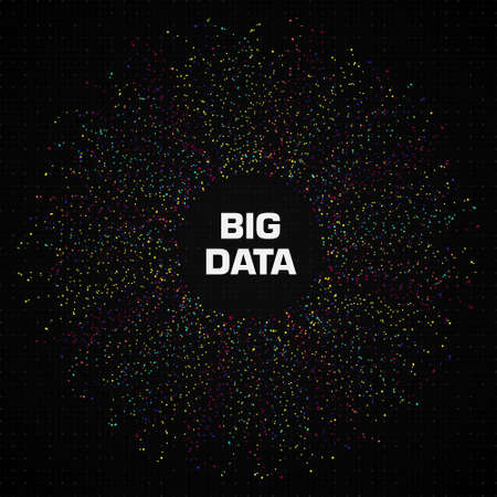 Big data circular visualization with a lot of dots and copy space. Black background with grid and dots. Design for business, science, technology. Vector illustration. Standard-Bild - 155187506