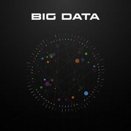 Big data visualization. Circular visualization of algorithms with multicolored line connections and dots on dark background with grid. Design for business, science, technology. Vector illustration. Standard-Bild - 155261389
