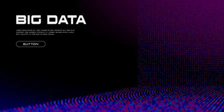 Big Data stream with Depth of Field Effect DoF. Vivid big data particles with bokeh effect and copy space. Linear perspective. Binary code structure. Abstract background. Vector illustration.
