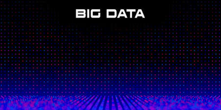 Big Data grid with Depth of Field Effect DoF. Vivid big data particles with bokeh effect and copy space. Linear perspective. Binary code structure. Abstract background. Vector illustration. 矢量图像
