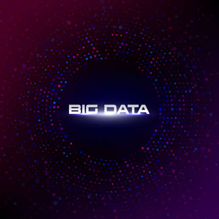 Big data circular visualization with copy space on dark gradient red and purple background. Bokeh. Design for business, science, technology. Vector illustration. Standard-Bild - 155351143