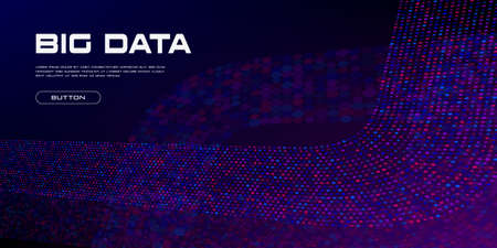 Big Data curved stream. Vivid big data particles with copy space. Linear perspective. Binary code structure. Abstract background. Vector illustration. Standard-Bild - 155351146