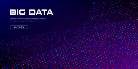 Big Data streams. Big data flows of vivid particles with copy space. Binary code structure. Abstract background. Vector illustration. Standard-Bild - 155488593
