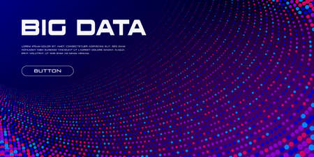 Big data visualization. Big Data tunnel stream of vivid particles with copy space. Binary code structure. Abstract science technology background. Vector illustration. Standard-Bild - 155607471