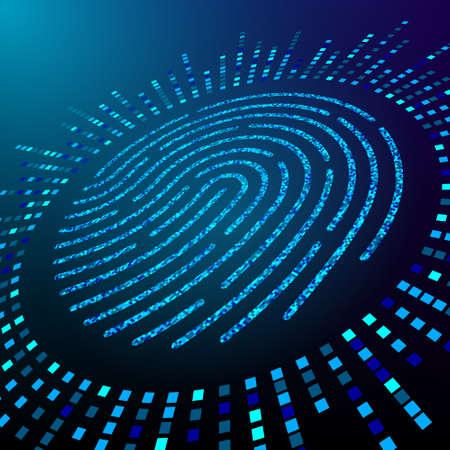 Big data fingerprint visualization. Processing information for personal identification. Fingerprint consisting of particles. Vector illustration. 矢量图像